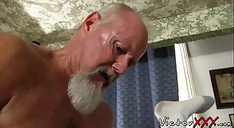 Hairy dad with piercing loves hard sans a condom sex and blowjob